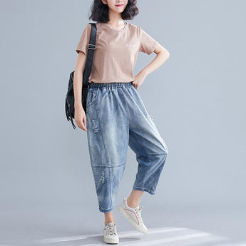 Women's Plus Size Elastic Thin Denim Pants May 2021 New-Arrival