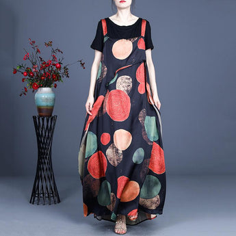 Women's Printed Irregular Polka Dot Silk Sling Dress April 2021 New-Arrival One Size Black