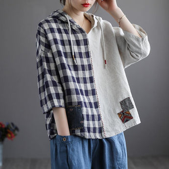 Women's Retro Casual Loose Linen Hoodies April 2021 New-Arrival One Size Beige