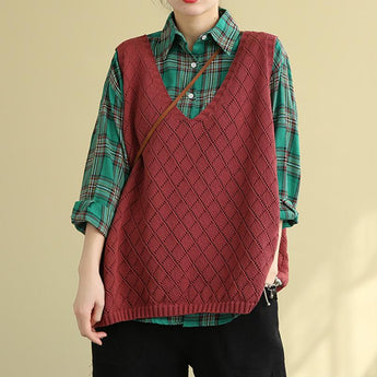 Women's Retro Loose Knitted Sweater Vest April 2021 New-Arrival One Size Red