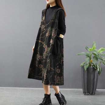 Women's Retro Printed Denim Strap Dress April 2021 New-Arrival