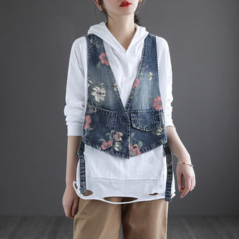 Women's Retro Printed Denim Vest April 2021 New-Arrival One Size Blue