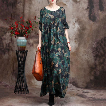 Women's Silk Print Irregular Maxi Dress April 2021 New-Arrival One Size Green