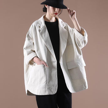 Women's Solid Color Loose Casual Jacket April 2021 New-Arrival One Size Beige