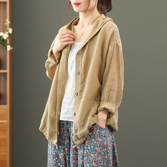 Women's Spring Summer Linen Hoodies Jacket April 2021 New-Arrival One Size Caramel