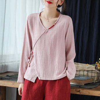 Women's V-neck Pullover Cotton Shirt April 2021 New-Arrival One Size Pink