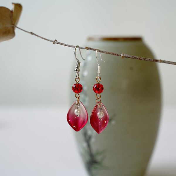 Women's Vintage Glass and Pearl Earrings ACCESSORIES Red