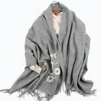Wool And Cashmere Scarf For Spring And Autumn Medium gray one