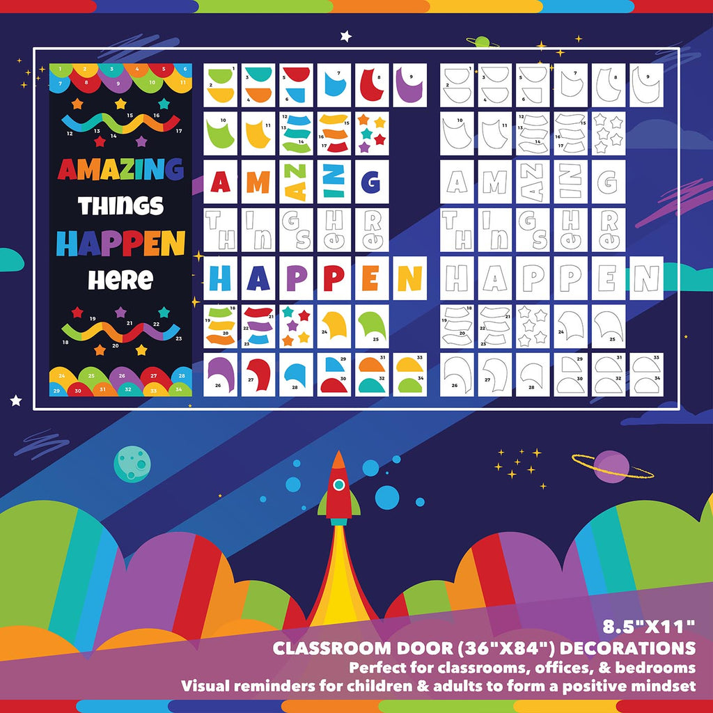 Classroom Door Decoration Kit - Amazing Things Happen Here Printable Digital Library Sproutbrite