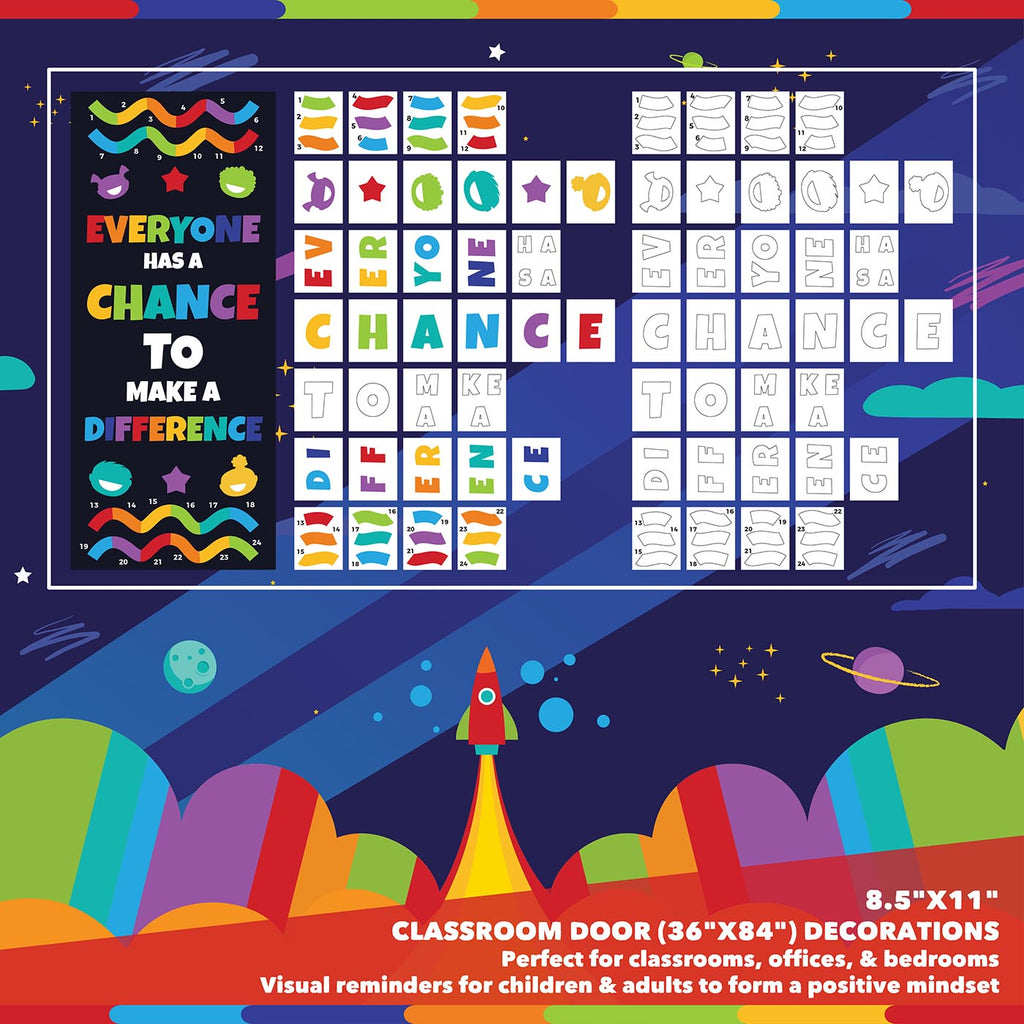 Classroom Door Decoration Kit - Everyone Has a Chance to Make a Difference Printable Digital Library Sproutbrite