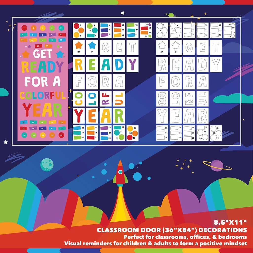 Classroom Door Decoration Kit - Get Ready For a Colorful Year Printable Digital Library Sproutbrite
