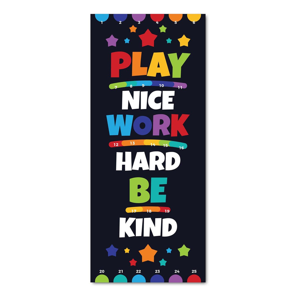 Classroom Door Decoration Kit - Play Nice Work Hard Be Kind Printable Digital Library Sproutbrite