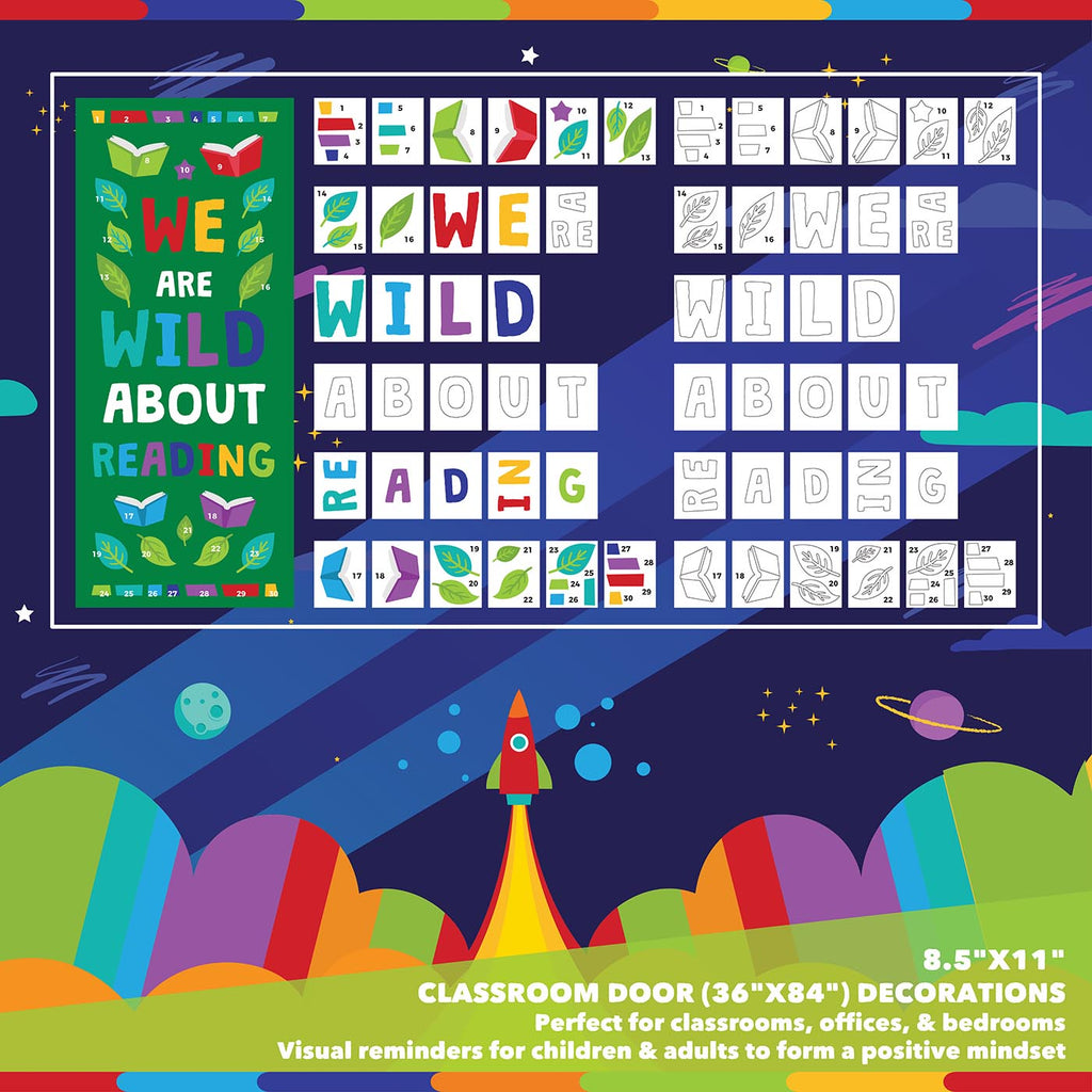 Classroom Door Decoration Kit - We are Wild About Reading Printable Digital Library Sproutbrite