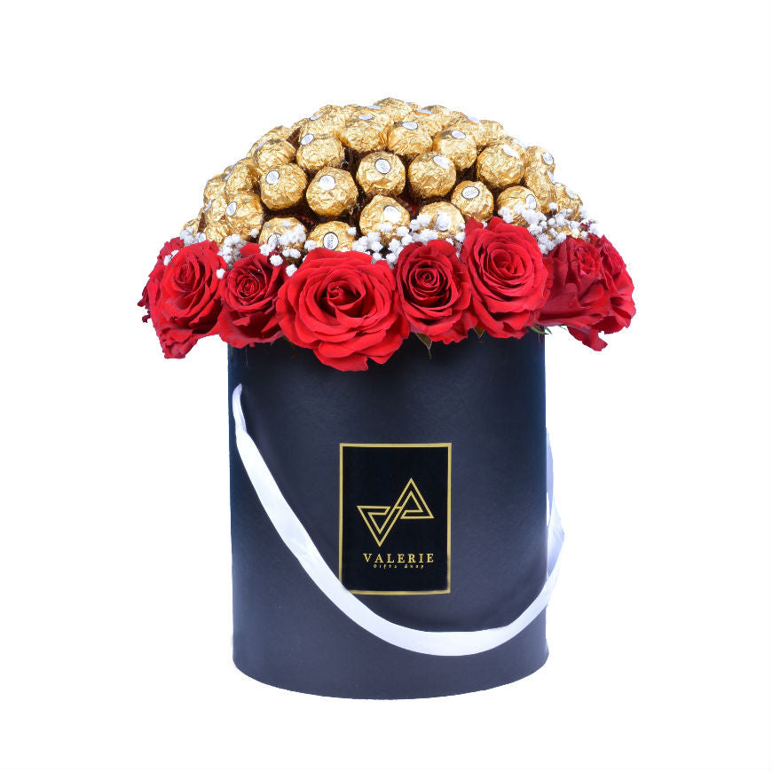 LARGE HAT BOX FERRERO ROCHER Flower Bouquet – VALERIEGIFTS.COM