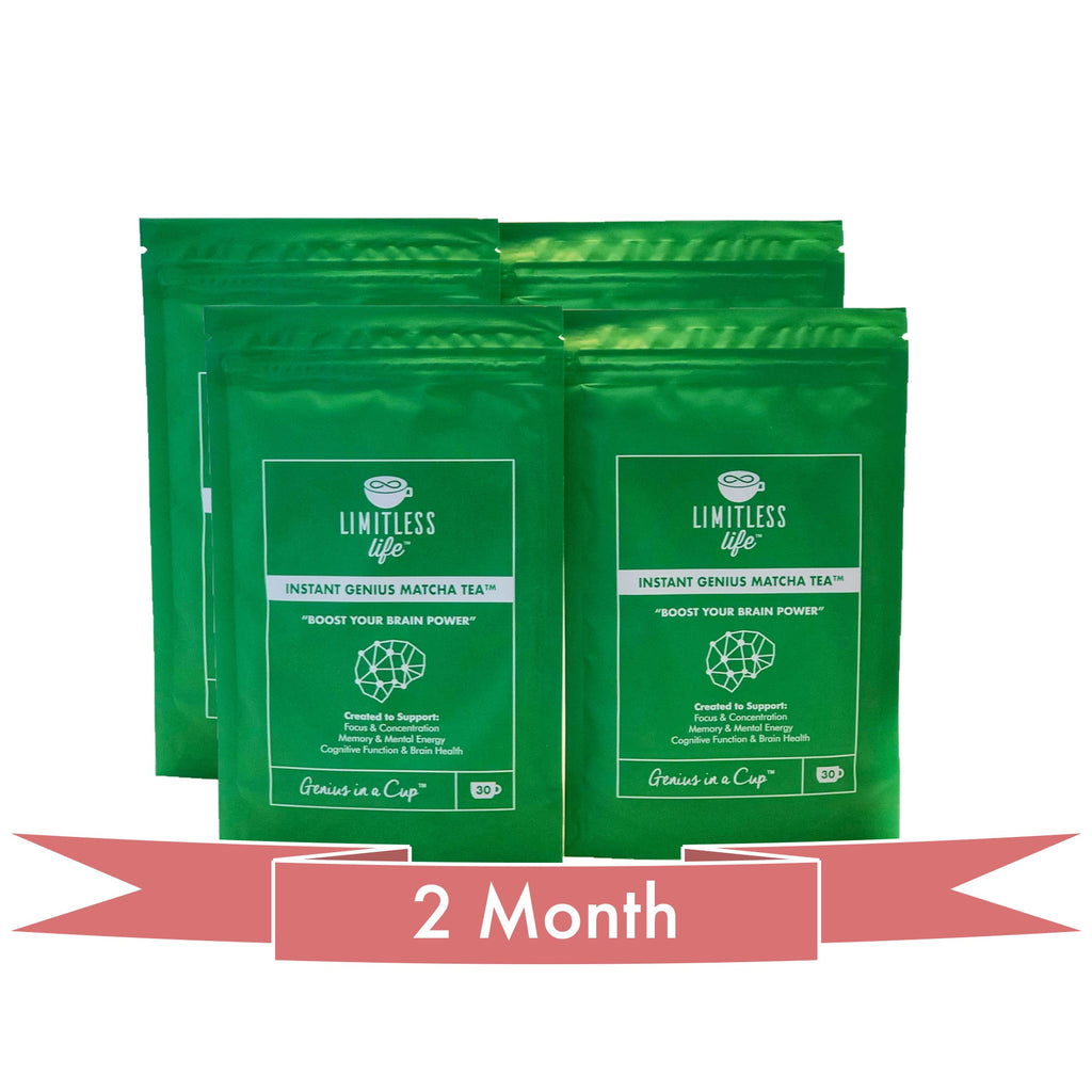 Instant Genius Matcha Tea™ Nootropic Matcha Tea with a blend of Acetly-L-carnitine, L-Tyrosine, Alpha-GPC, Lions Mane, L-Theanine and Vitamin B6