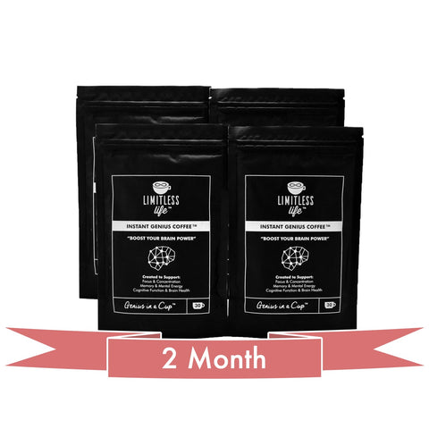 Instant Genius Coffee™ Nootropic Arabica Coffee with a blend of Acetly-L-carnitine, L-Tyrosine, Alpha-GPC, Lions Mane, L-Theanine and Vitamin B6