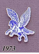 1973 Pegasus Pin - Blue on White Plastic – No Year, Lewtan or Plain Back