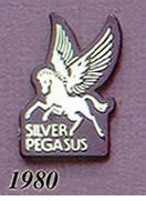 1980 Pegasus Pin - Full Pegasus/Silver on Black Plastic