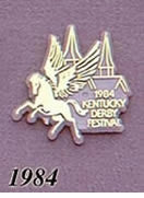 1984 Pegasus Pin - Pegasus/Gold on Gray Plastic w/Twin Spires