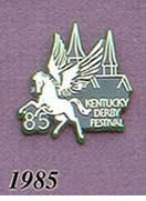 1985 Pegasus Pin - Pegasus/Silver on Green Plastic w/Twin Spires