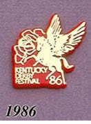 1986 Pegasus Pin - Pegasus/Rose/Gold on Red Plastic