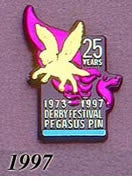1997 Pegasus Pin - Pegasus 25th Year on Black Plastic/3 Pins/3 Colors to choose from