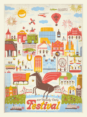 2017 Kentucky Derby Festival Poster - HAND SCREENED BY ARTIST- LIMITED  QUANTITIES!