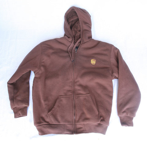 UPS Sherpa Lined Full Zip Hooded Sweatshirt