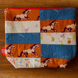 One of a Kind Quilted Medium Project Bag - Circus Horses