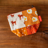 One of a Kind Quilted Notions Pouch - Over-easy Tigers