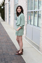 Load image into Gallery viewer, Sage Buttoned Romper Large