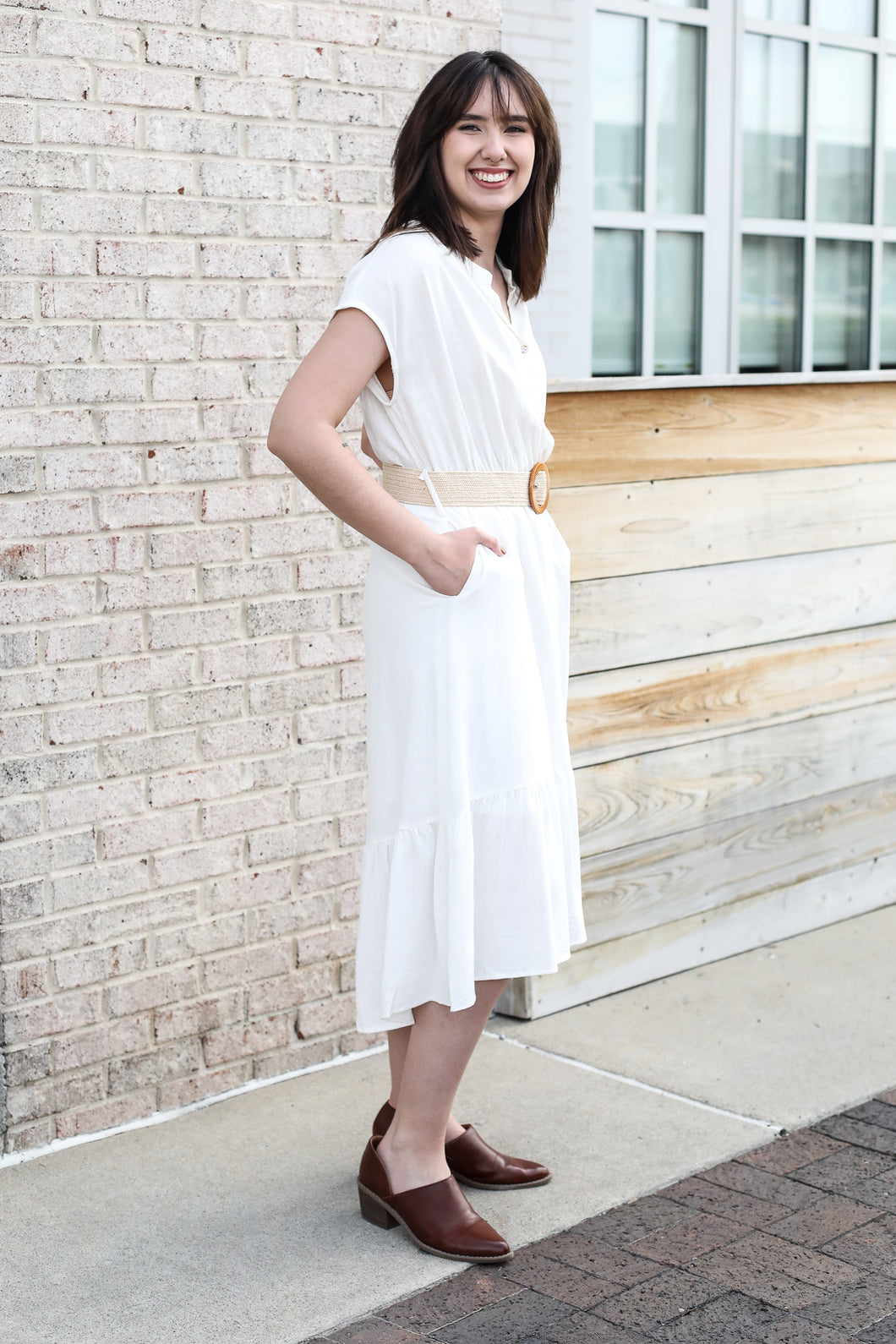 Ivory High Low Dress With Belt Large