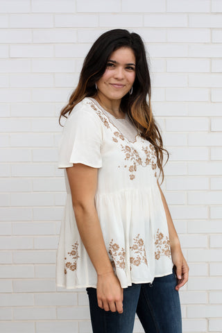 Ivory Top with Embroidered Details  Small