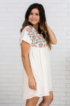 Ivory Dress with Embroidered Details Large