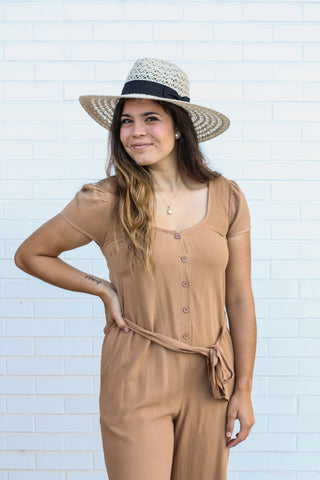 Camel Jumpsuit Large