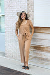 Camel Jumpsuit Small