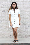 Short Sleeve Button Dress Large