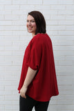 Oversized Tee Large Burgundy
