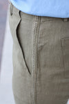 Olive Frayed Trousers Medium