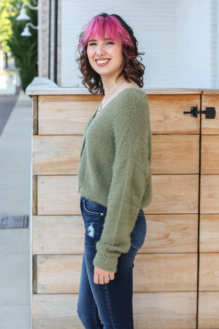 Olive Button Down Cardigan Medium