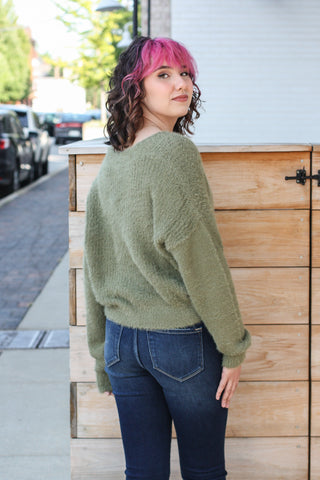 Olive Button Down Cardigan Small