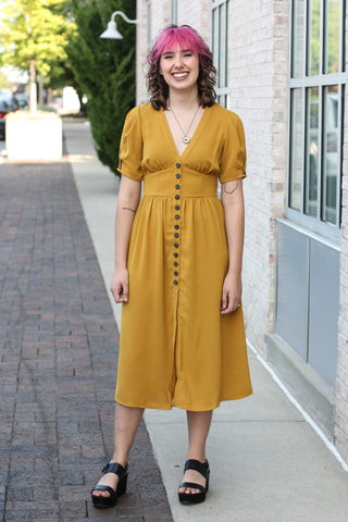 Mustard Button Front Midi Dress Large
