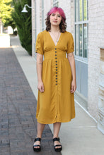 Load image into Gallery viewer, Mustard Button Front Midi Dress Small