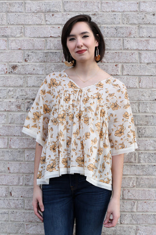 Golden Floral Print Top Medium