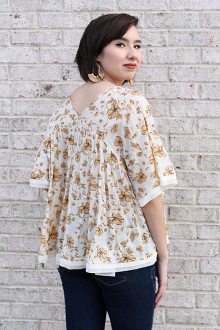 Golden Floral Print Top Large
