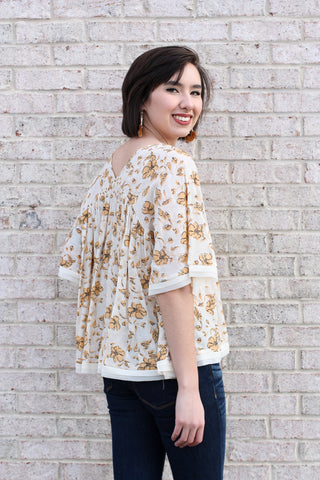 Golden Floral Print Top Small