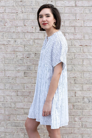 Navy And White Striped Dress Large