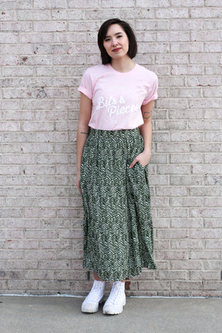 Olive Printed Midi Skirt Medium