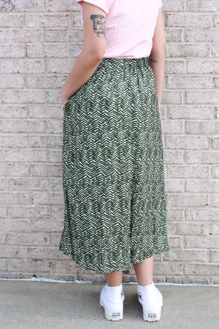 Olive Printed Midi Skirt Small