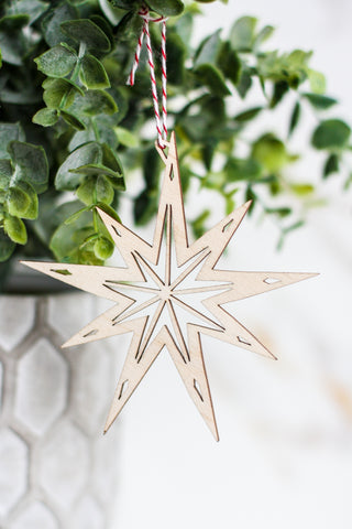 Wooden Ornament Star #3
